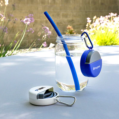 Easy Clean Silicone Straw with Carabiner Case